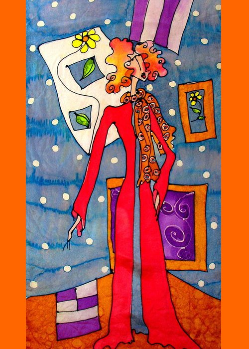 Greeting Card featuring the painting Lady In Red by Yvonne Feavearyear