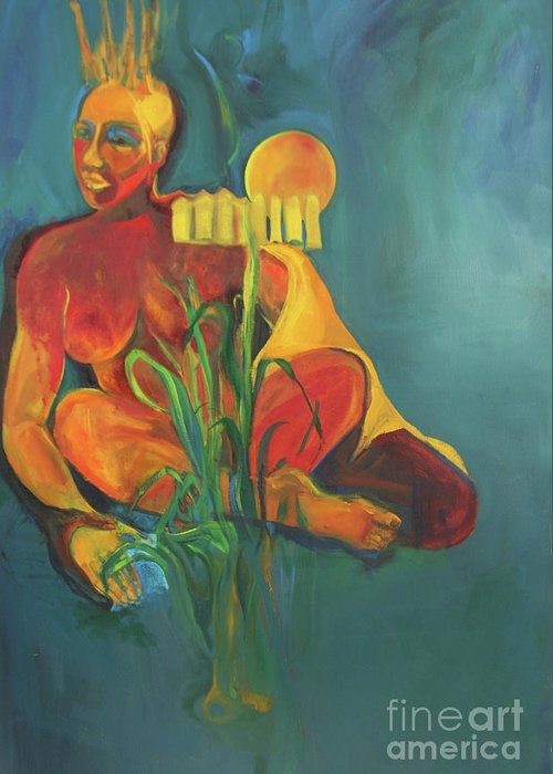 Oil Painting Greeting Card featuring the painting Lady In The Weeds by Daun Soden-Greene