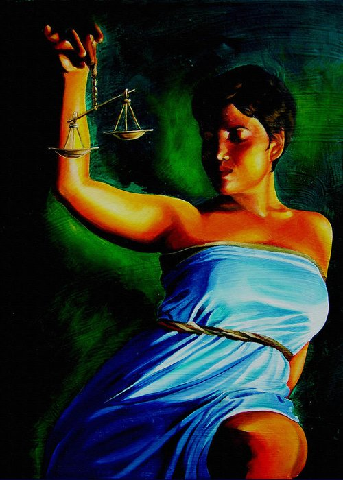 Law Art Greeting Card featuring the painting Lady Justice by Laura Pierre-Louis