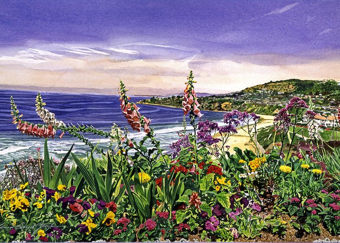 Flowers Greeting Card featuring the painting Laguna Niguel Garden by David Lloyd Glover