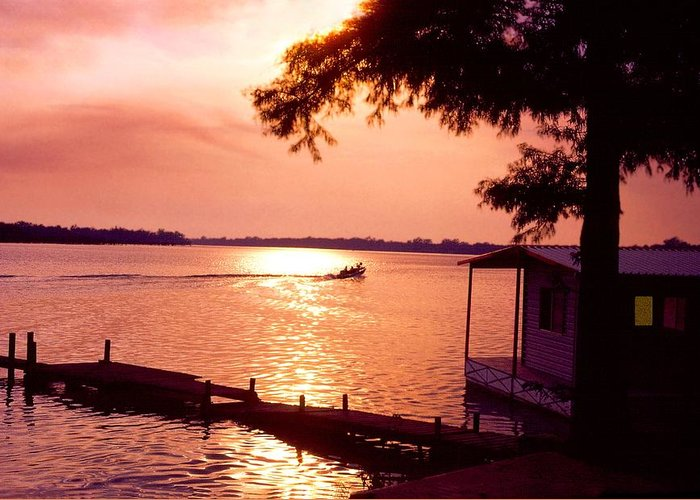 Sunset Greeting Card featuring the photograph Lake Chicot Sunset by John Foote