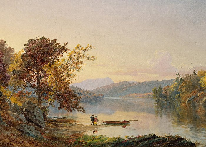 Cropsey Greeting Card featuring the painting Lake George 1 by Jasper Francis Cropsey