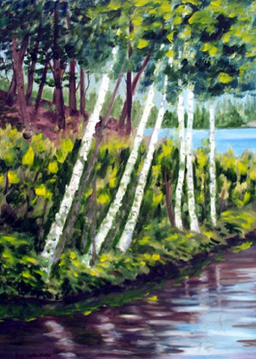Landscape Greeting Card featuring the print Lakeside Birches by Anne Trotter Hodge