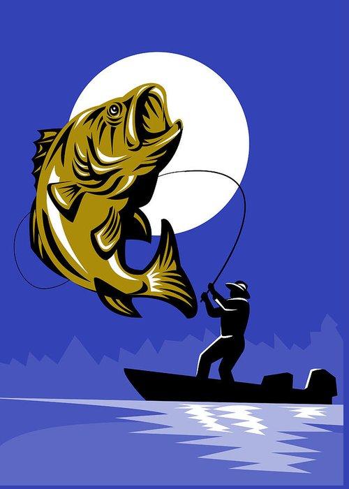 Largemouth Greeting Card featuring the digital art Largemouth Bass Fish And Fly Fisherman by Aloysius Patrimonio