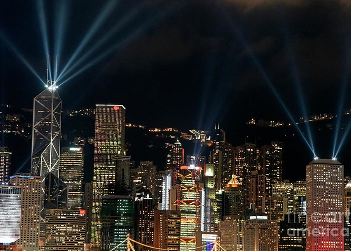 Asia Greeting Card featuring the photograph Laser Show Over City At Night by Sami Sarkis