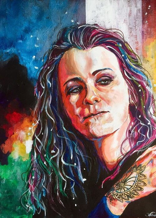 Portrait Greeting Card featuring the painting Laura Jane Grace by Joel Tesch