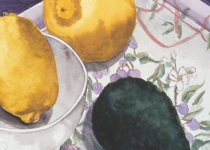 Still-life Greeting Card featuring the painting Lemons And Avocado Still-life by Caron Sloan Zuger