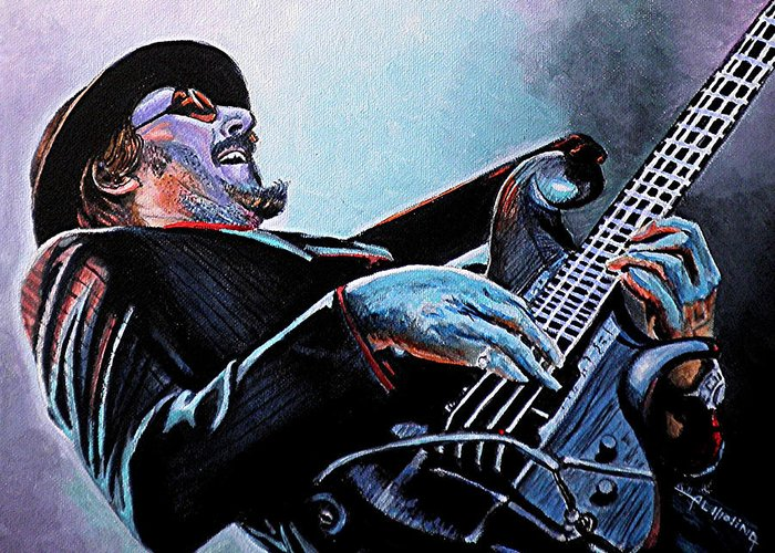 Les Claypool Greeting Card featuring the painting Les Claypool by Al Molina