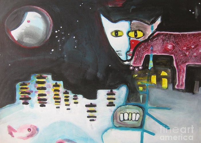 Cat Paintings Greeting Card featuring the painting Let Me Out3 by Seon-Jeong Kim
