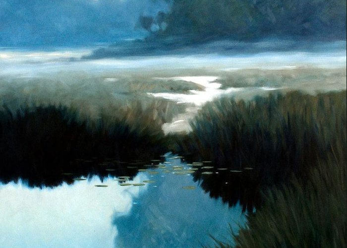Landscape Greeting Card featuring the painting Lifting Fog by Kevin Lawrence Leveque