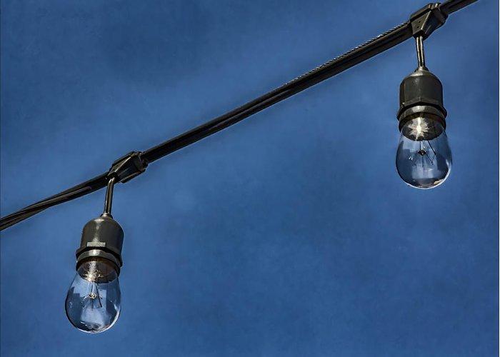 Lightbulbs And Sky Greeting Card featuring the photograph Lightbulbs And Sky by Robert Ullmann
