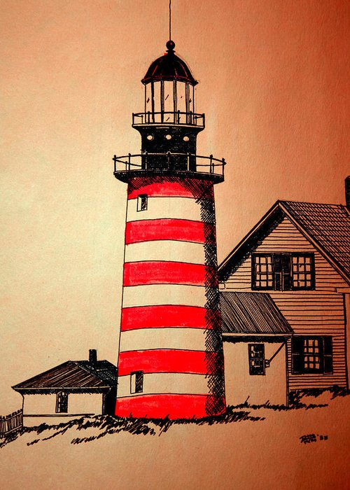 Seascape Greeting Card featuring the photograph Lighthouse by Doug Mills