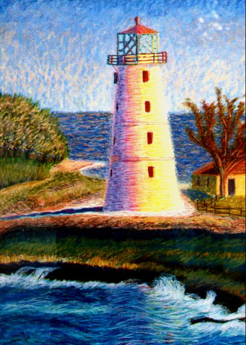 Lighthouse Greeting Card featuring the painting Lighthouse by Stan Hamilton