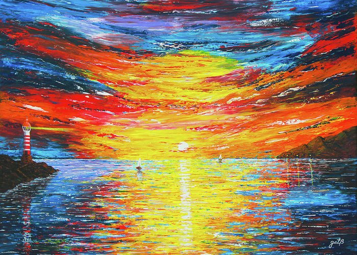 Ocean View Acrylic Painting Greeting Card featuring the painting Lighthouse Sunset Ocean View Palette Knife Original Painting by Georgeta Blanaru