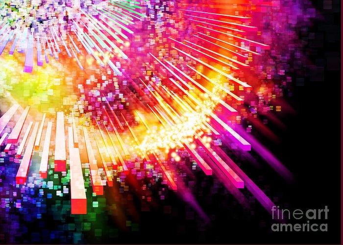 Abstract Greeting Card featuring the photograph Lighting Explosion by Setsiri Silapasuwanchai