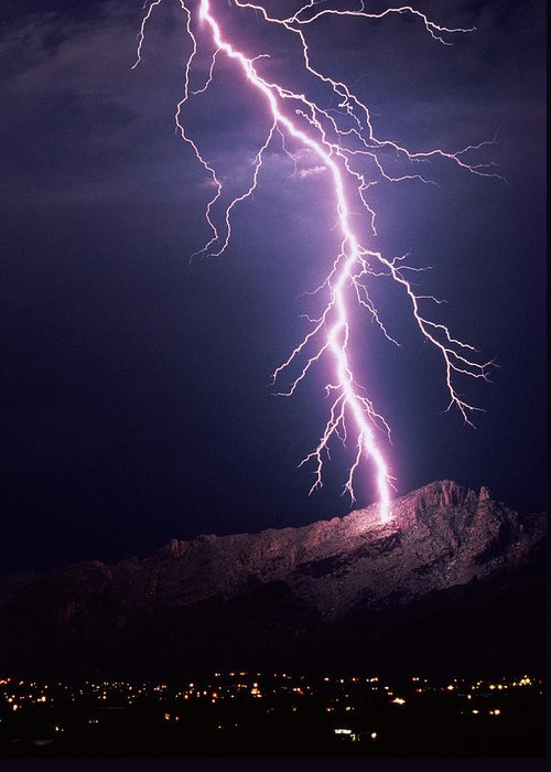 Move Movement Moving Greeting Card featuring the photograph Lightning Over Tucson by Keith Kent