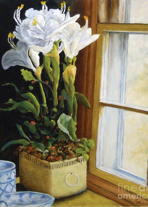 Art Greeting Card featuring the painting Lillies by Richard T Pranke