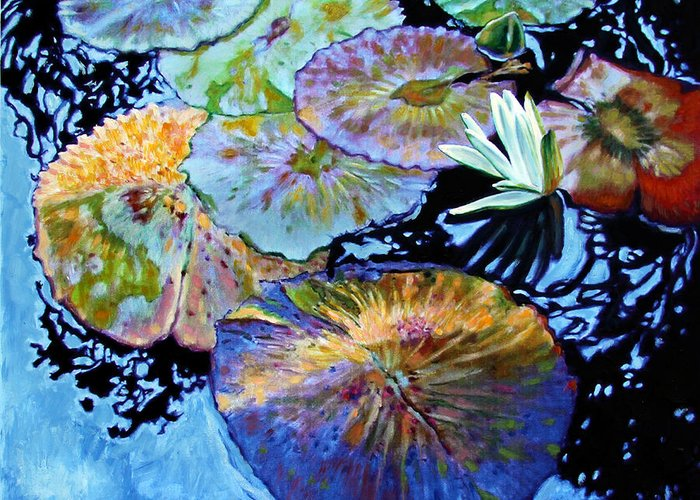 Water Lilies Greeting Card featuring the painting Lily Pad Palettes by John Lautermilch