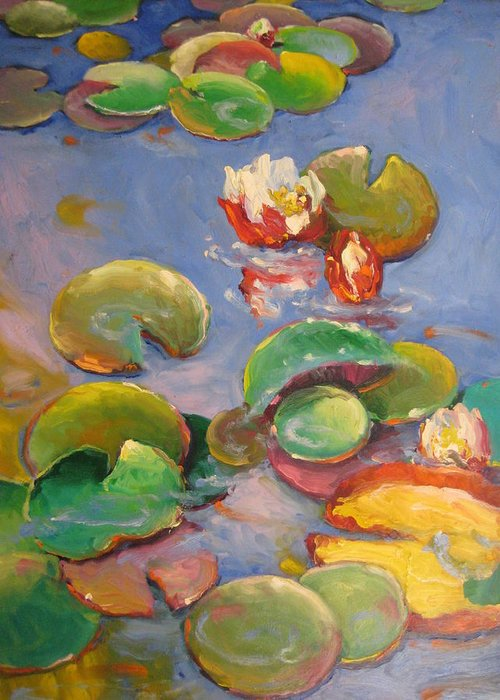 Water Greeting Card featuring the painting Lily Pond by Susan Jenkins