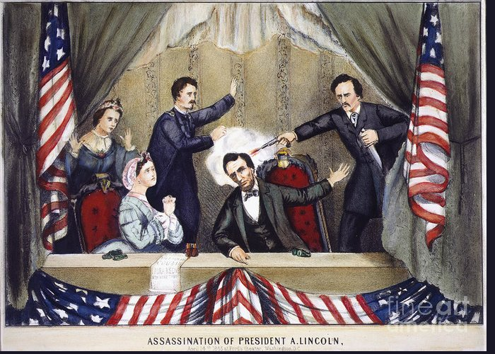 1865 Greeting Card featuring the photograph Lincoln Assassination by Granger