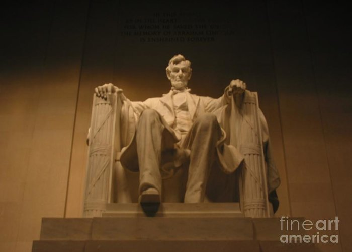 Abraham Lincoln Greeting Card featuring the painting Lincoln Memorial by Brian McDunn