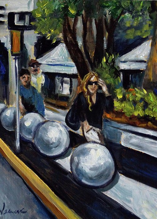 Sobe Greeting Card featuring the painting Lincoln Road by Valerie Vescovi