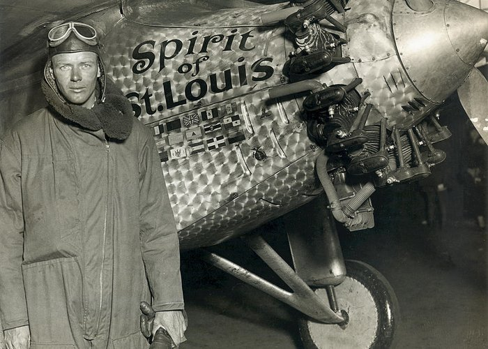 Spirit Of St Louis Greeting Card featuring the photograph Lindbergh With His Airplane, 1928 by Detlev Van Ravenswaay