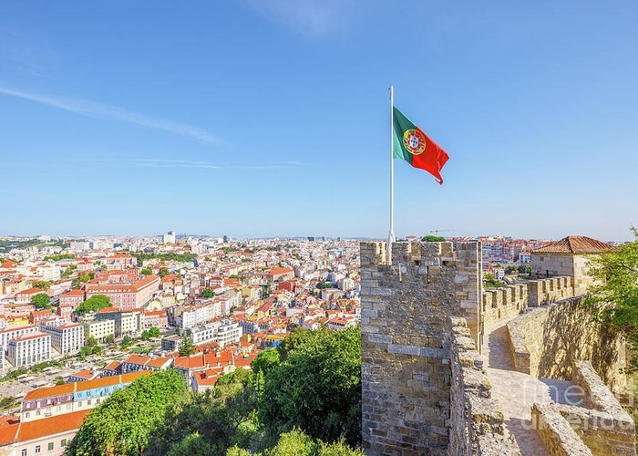 Lisbon Greeting Card featuring the photograph Lisbon Castle Flag by Benny Marty