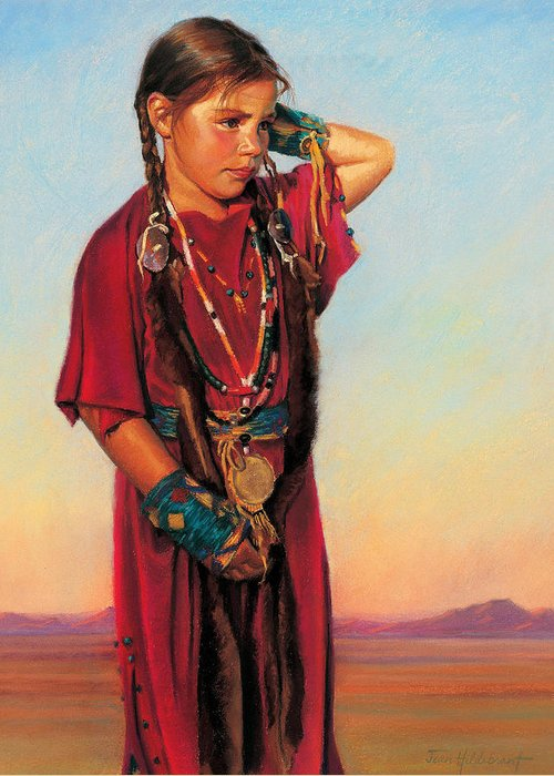 American Indian Greeting Card featuring the painting Little American Beauty I by Jean Hildebrant