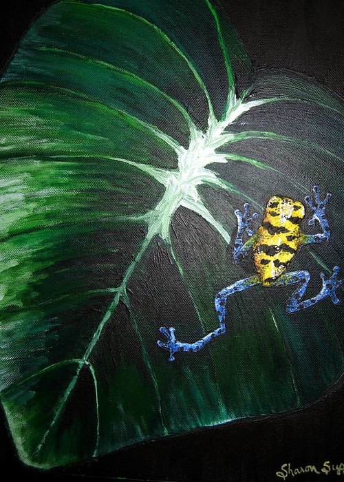 Poison Dart Frog Greeting Card featuring the painting Little Frog In A Big World by Sharon Supplee