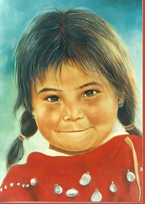 Native American Greeting Card featuring the painting Little Jewel by Naomi Dixon