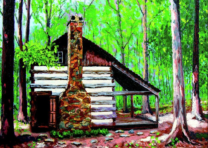 Log Cabin Greeting Card featuring the painting Log Cabin V by Stan Hamilton