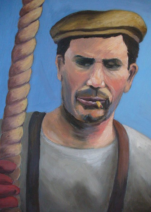 Figure Greeting Card featuring the painting Long Shoreman by Joe Lanni