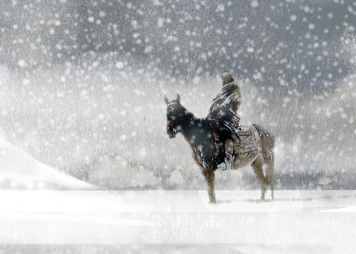 Native American Greeting Card featuring the painting Longest Winter by Paul Sachtleben