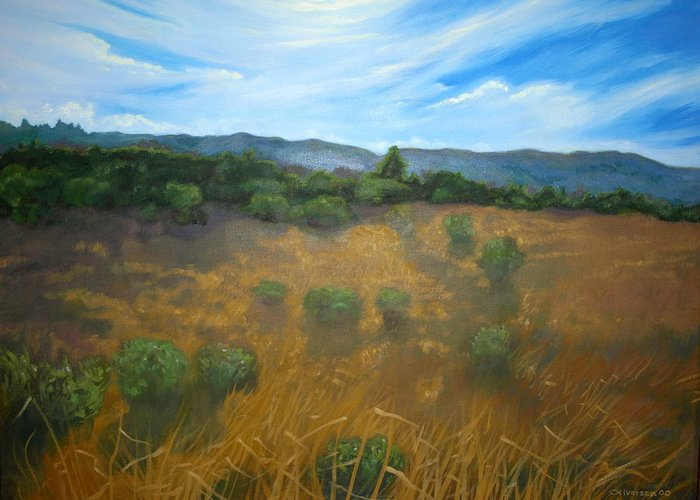 Landscape Greeting Card featuring the painting Looking Back To Betteravia by Jill Iversen