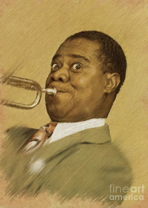 Louis Greeting Card featuring the painting Louis Armstrong, Music Legend by Mary Bassett