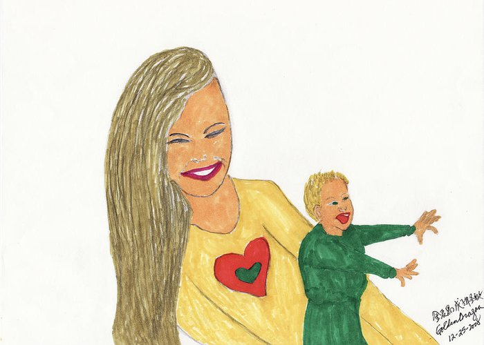 Mother Greeting Card featuring the painting Love by Golden Dragon