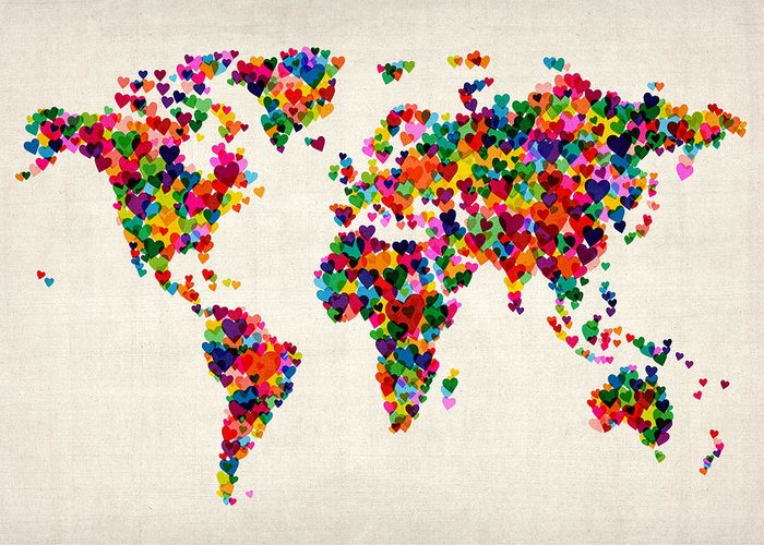 World Map Greeting Card featuring the digital art Love Hearts Map of the World Map by Michael Tompsett