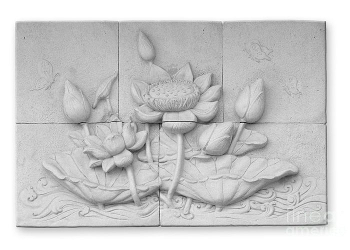 Ancient Greeting Card featuring the relief Low Relief Cement Thai Style by Phalakon Jaisangat