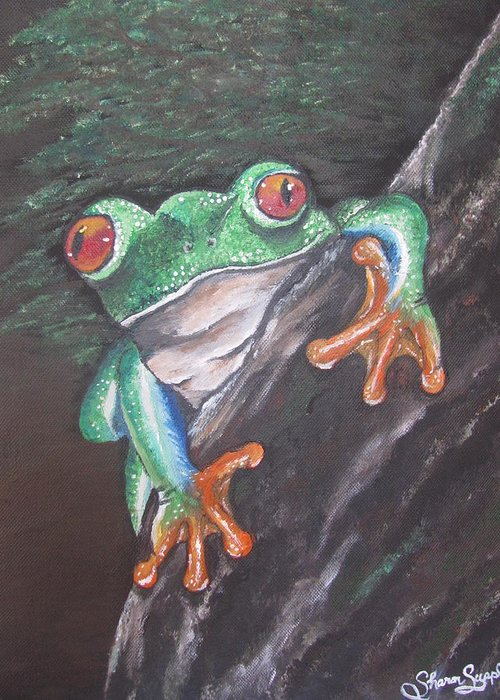 Frog Greeting Card featuring the painting Lucky by Sharon Supplee