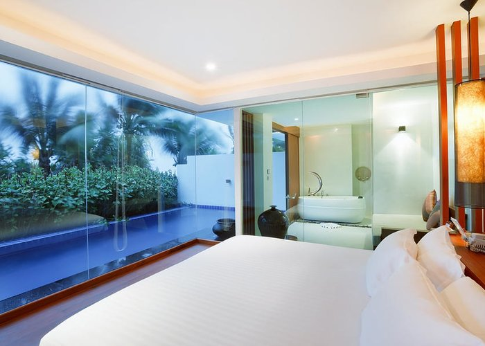 Resort Greeting Card featuring the photograph Luxury Bedroom by Setsiri Silapasuwanchai