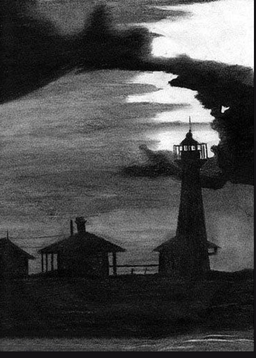 Landscape Greeting Card featuring the drawing Lydia Ann Lighthouse by Adam Johnson