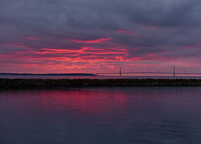 Mackinac Island Greeting Card featuring the photograph Mackinac Bridge Sunset by Robert McGreevy