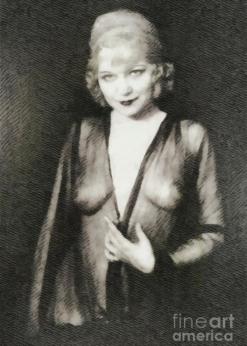 Mae Greeting Card featuring the painting Mae West, Vintage Actress by John Springfield