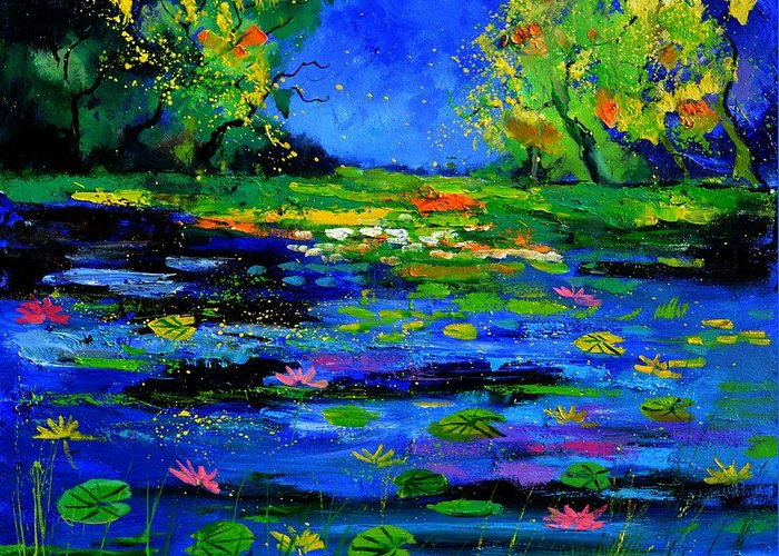 Landscape Greeting Card featuring the painting Magic pond 765170 by Pol Ledent