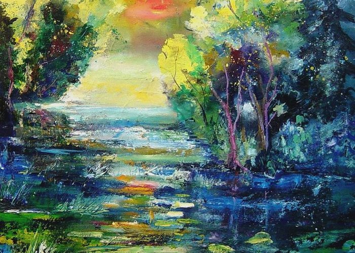 Pond Greeting Card featuring the painting Magic Pond by Pol Ledent
