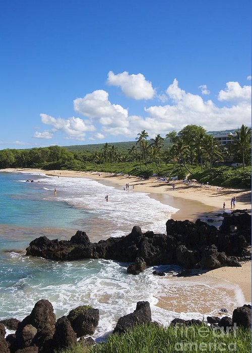 Beach Greeting Card featuring the photograph Makena, Maluaka Beach by Ron Dahlquist - Printscapes