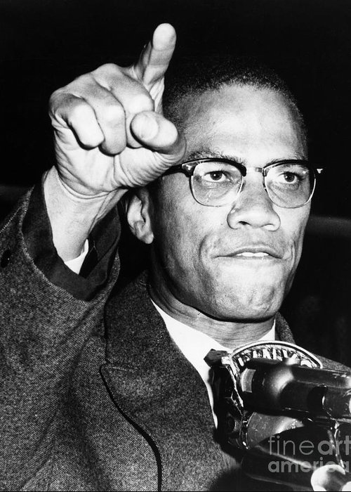 1963 Greeting Card featuring the photograph Malcolm X (1925-1965) by Granger