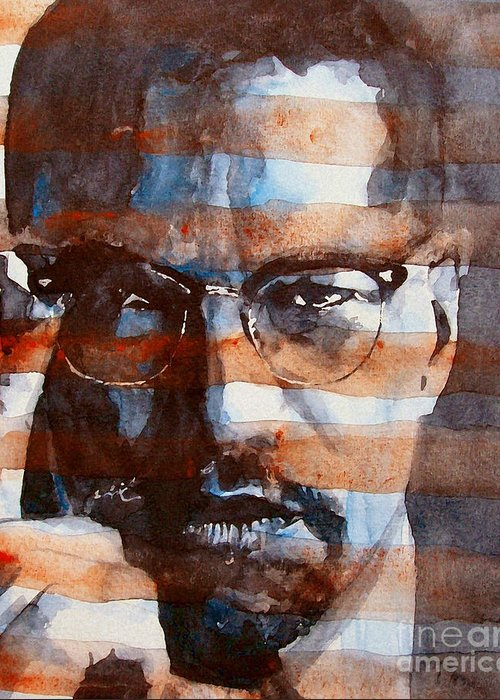 Malcolm X Greeting Card featuring the painting Malcolmx by Paul Lovering