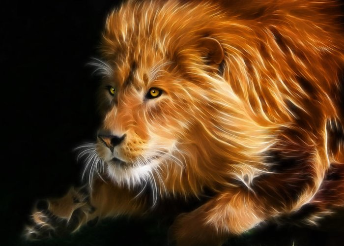 Cats Greeting Card featuring the digital art Male Lion Fractal by Julie L Hoddinott